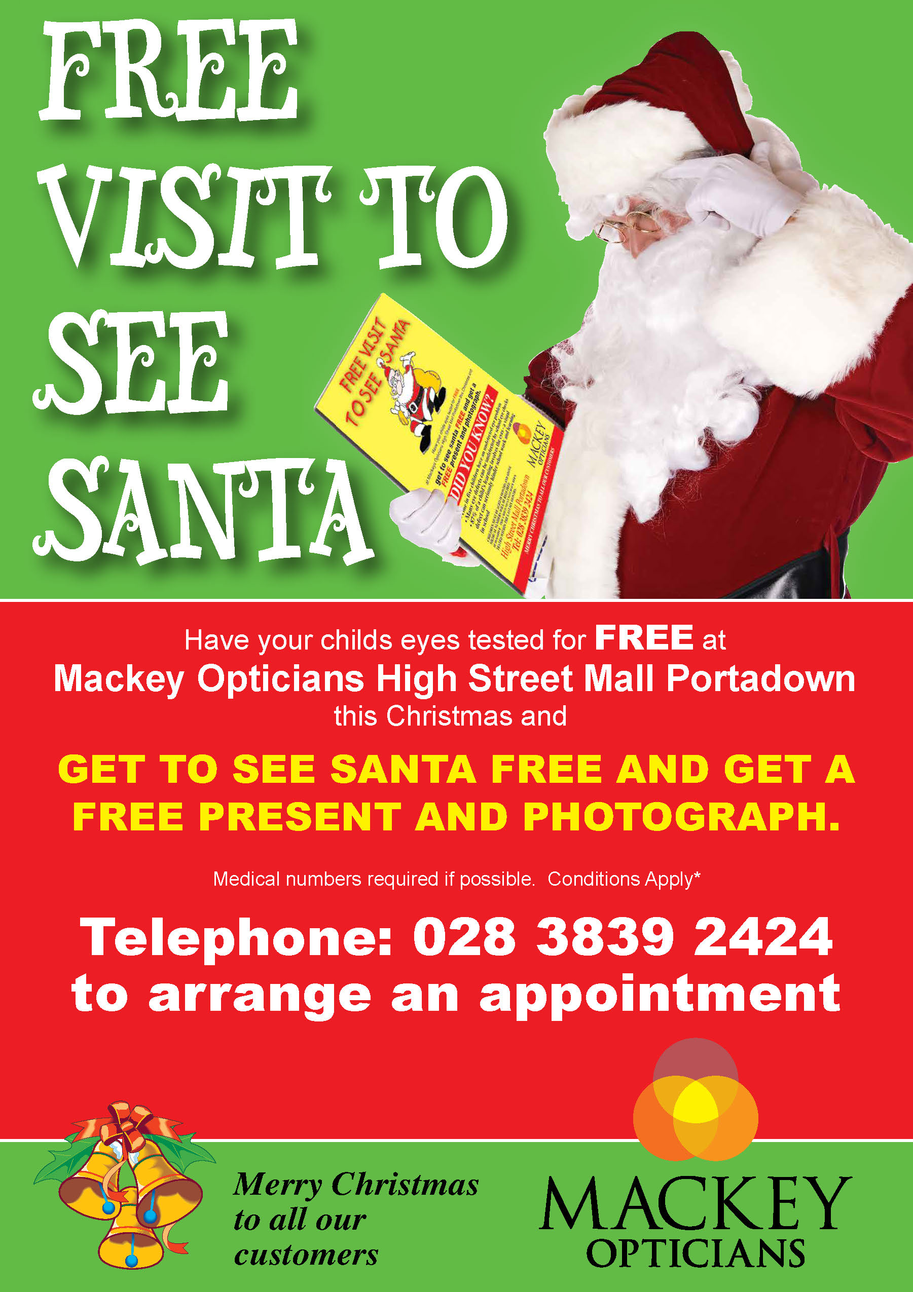 Free visit to see Santa with Mackey Opticians