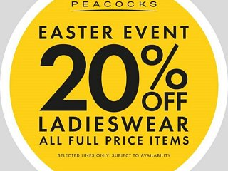 Peacocks 20% OFF this easter